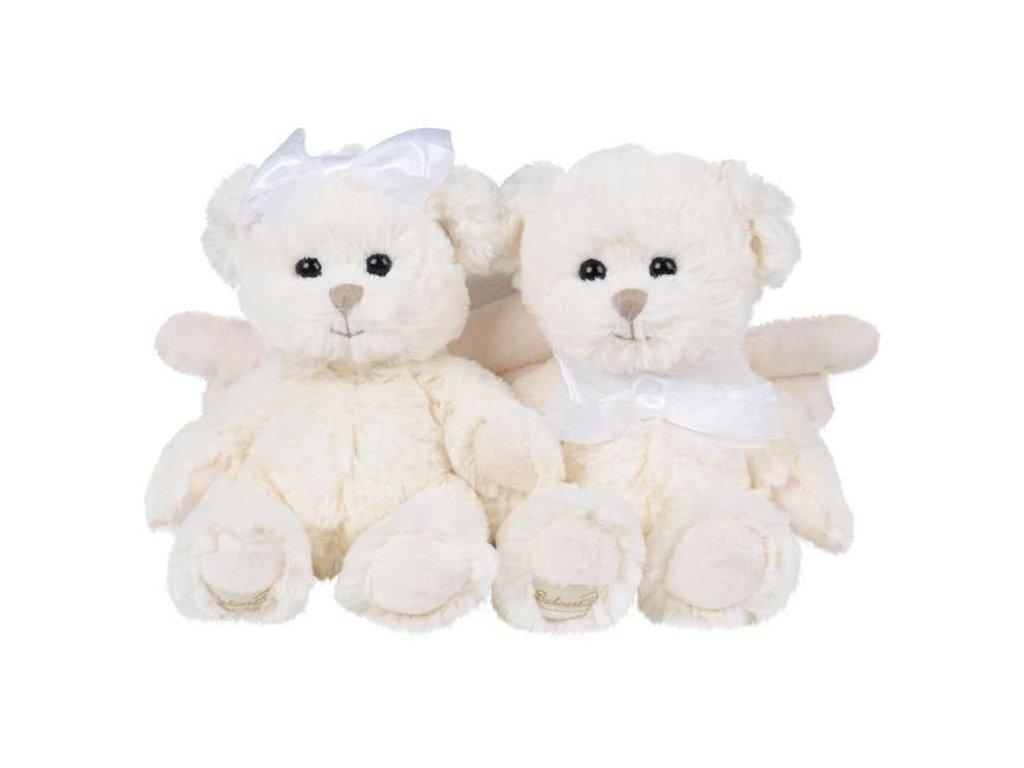 medvídek KAITLYN OFF/WHITE andílek mašle bílý