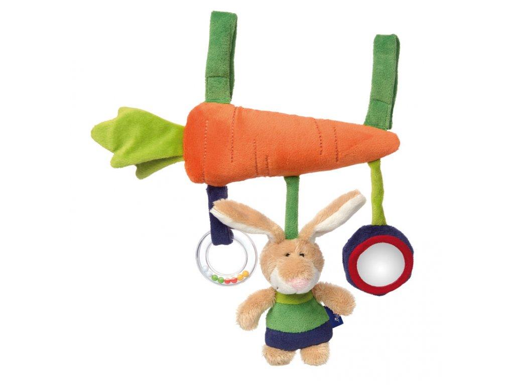 Mrkev se zajíčkem BLUE LINE BABY hračka na zavěšení na autosedačku