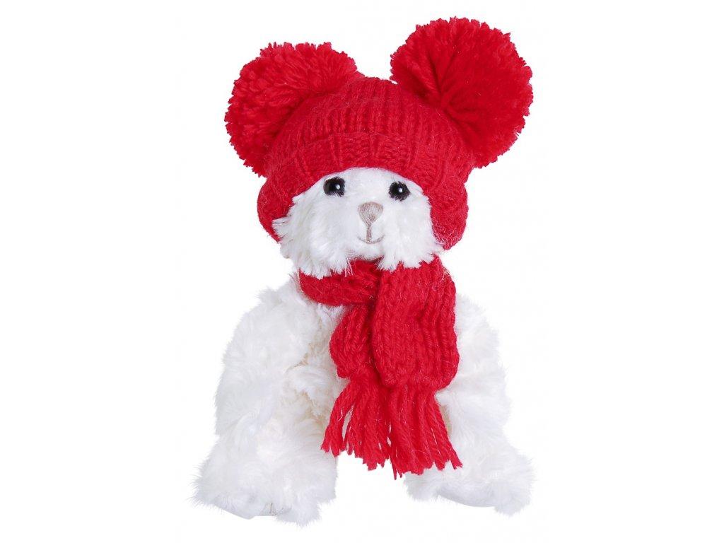 medvídek JULIAN - červená čepice