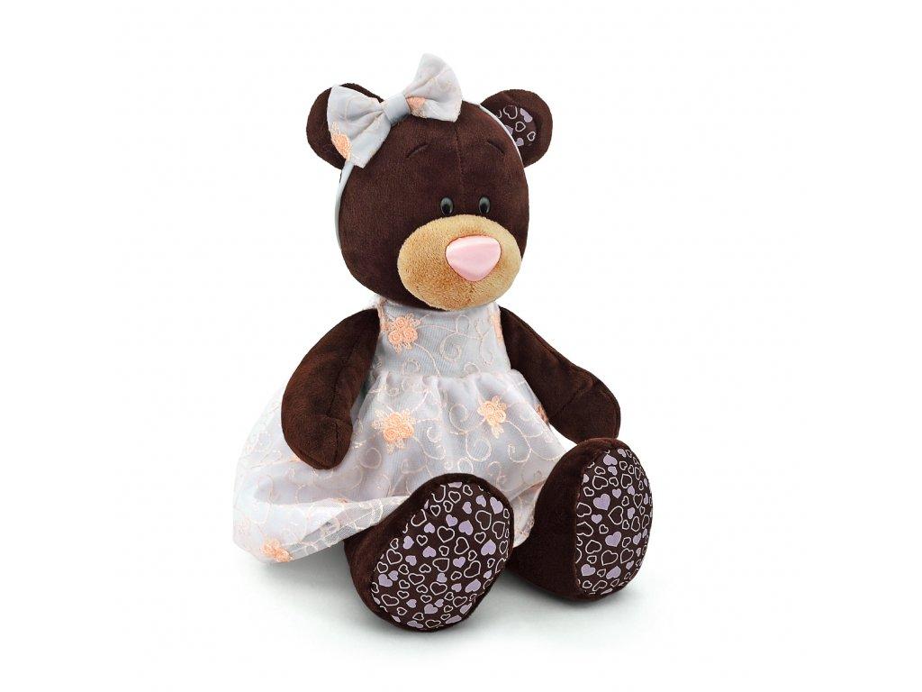 Medvídek MILK růžové šaty s kvítky