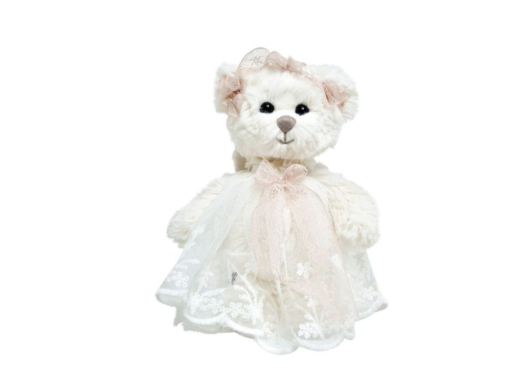 medvídek BABY HAILEY ANGEL krajkové šaty růžová stuha