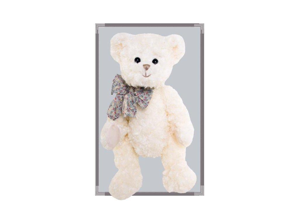 medvídek BEAU GARCON ANTOINE bílý, modrá mašle