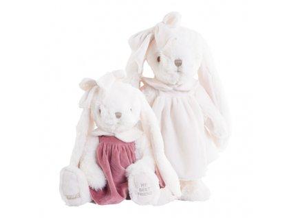BK CLAUDIA zajíc bílý v růžových sametových šatech (40cm) Bukowski Design NOVINKA